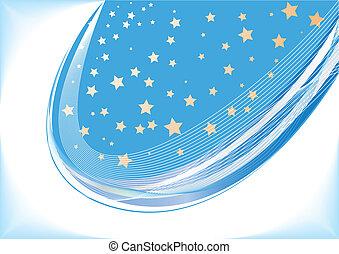 bleu, vecteur, étoile, fond