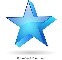 bleu, vecteur, étoile