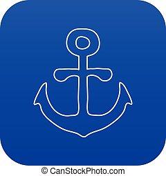 bleu, vecteur, ancre, icône