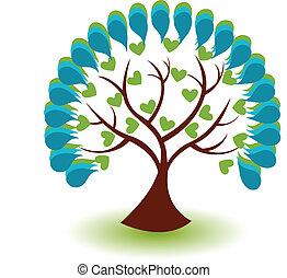 bleu, vecteur, arbre, fond, icône