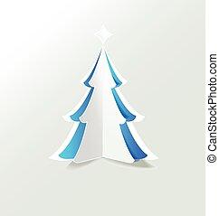 bleu, vecteur, arbre, noël