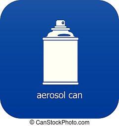 bleu, vecteur, boîte aérosol, icône