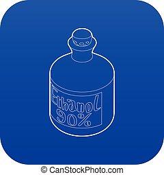 bleu, vecteur, bouteille, éthanol, icône