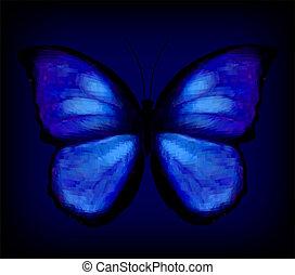 bleu, vecteur, butterfly.