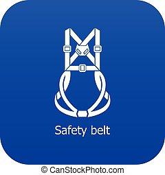 bleu, vecteur, ceinture de sécurité, icône