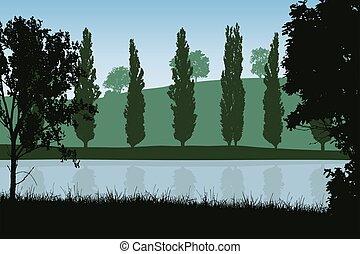 bleu, vecteur, ciel, illustration, rivage, posé couches, arbres, sous, paysage rivière