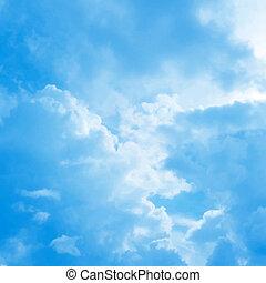 bleu, vecteur, ciel, nuageux, fond
