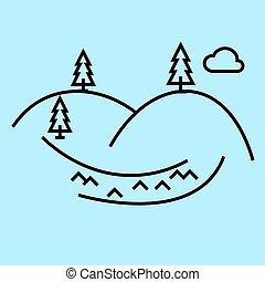 bleu, vecteur, collines, coups, editable, illustration, signe, fond, icône, ligne