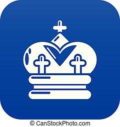 bleu, vecteur, couronne, icône