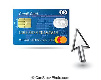 bleu, vecteur, curseur, crédit, carte ordinateur