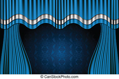 bleu, vecteur, curtains., théâtre