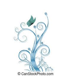 bleu, vecteur, feuillage, fond