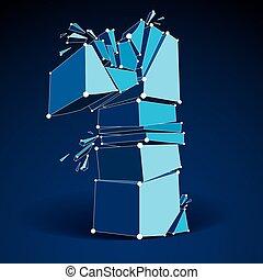 bleu, vecteur, fil, 1, wireframe, nombre, élément, dimensionnel, cassé, pieces., maille, démoli, technologie, fragments., numeration, 3d