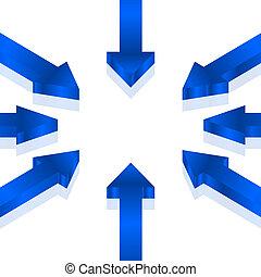 bleu, vecteur, flèches, illustration