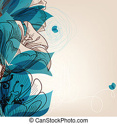 bleu, vecteur, fleur, fond