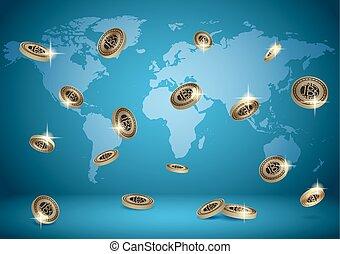 bleu, vecteur, fond, à, planisphère, et, bitcoins