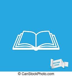 bleu, vecteur, fond, livre ouvert, icône