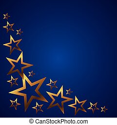 bleu, vecteur, fond, or, étoiles