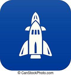 bleu, vecteur, fusée, icône