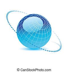 bleu, vecteur, globe