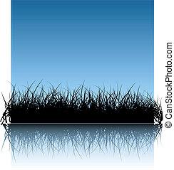 bleu, vecteur, herbe, fond