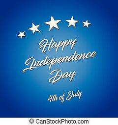 bleu, vecteur, illustration, arrière-plan., 4ème juillet, day!, indépendance, heureux