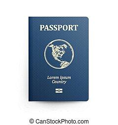 bleu, vecteur, illustration., map., isolé, réaliste, cover., identification, passeport, devant, international, document., globe.
