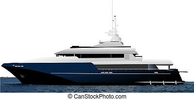 bleu, vecteur, illustration, océan, yacht., noir