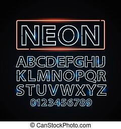 bleu, vecteur, lettres, exposition, lumière, signe néon, police, lampe, vegas, theather