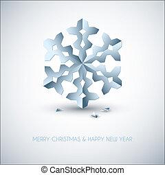 bleu, vecteur, lumière, flocon de neige, papier, noël