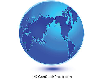 bleu, vecteur, mondiale