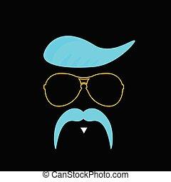 bleu, vecteur, moustache, figure