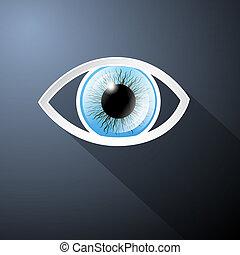 bleu, vecteur, oeil, résumé, sombre, papier, fond