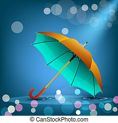 bleu, vecteur, parapluie, fond