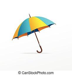 bleu, vecteur, parapluie, isolé, jaune