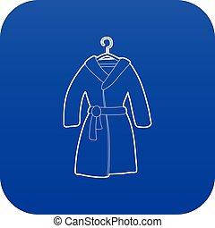 bleu, vecteur, peignoir, icône