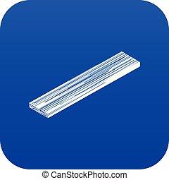 bleu, vecteur, planche, bois construction, icône