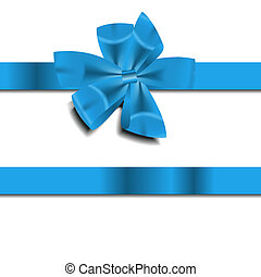 bleu, vecteur, ruban, illustration, cadeau