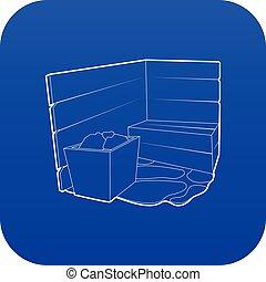bleu, vecteur, sauna, icône