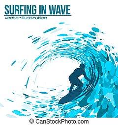 bleu, vecteur, silhouette, surfeur, vague
