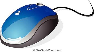 bleu, vecteur, souris ordinateur, illustration