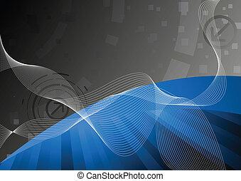 bleu, vecteur, technologie, fond
