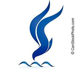 bleu, vecteur, vagues, logo, oiseau, icône