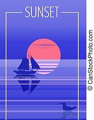 bleu, vecteur, voile, illustration, voilier, crépuscule, océan, clair lune, fond, vecteur, mer, horizon, nuit, isolared