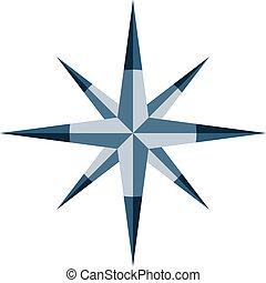 bleu, vecteur, windrose