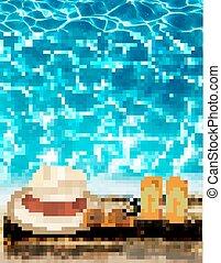 bleu, vector., vacances, sunglasses., fond, mer, chapeau