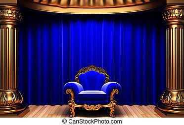 bleu, velours, or, rideaux, chaise, colonnes
