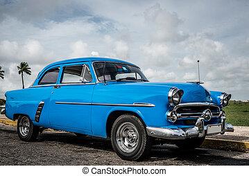 bleu, vendange, Américain, voiture,  cuba