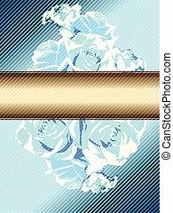 bleu, vendange, bannière, roses
