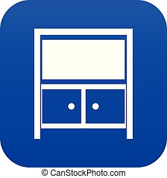 bleu, vendange, buffet, icône, numérique